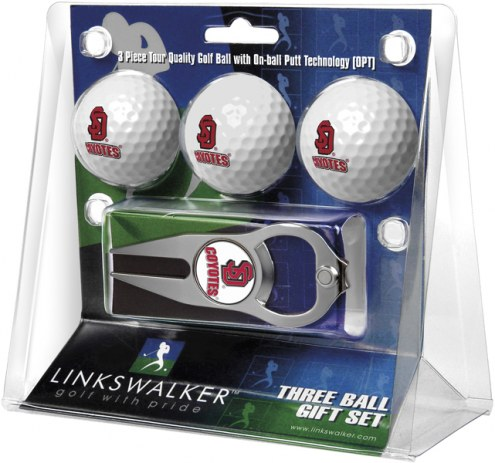 South Dakota Coyotes Golf Ball Gift Pack with Hat Trick Divot Tool