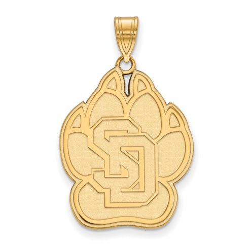 South Dakota Coyotes NCAA Sterling Silver Gold Plated Extra Large Pendant