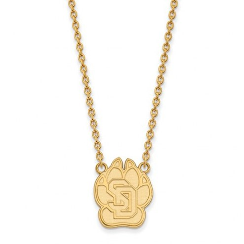 South Dakota Coyotes NCAA Sterling Silver Gold Plated Large Pendant Necklace