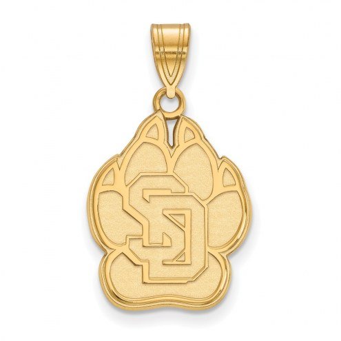 South Dakota Coyotes NCAA Sterling Silver Gold Plated Large Pendant