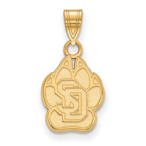 South Dakota Coyotes NCAA Sterling Silver Gold Plated Small Pendant