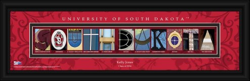 South Dakota Coyotes Personalized Campus Letter Art