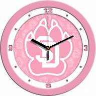 South Dakota Coyotes Pink Wall Clock