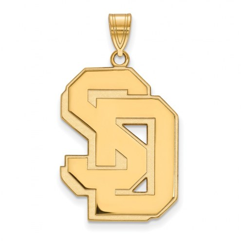 South Dakota Coyotes Sterling Silver Gold Plated Extra Large Pendant