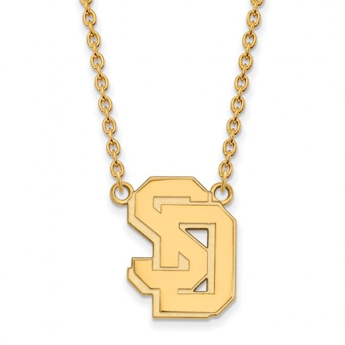 South Dakota Coyotes Sterling Silver Gold Plated Large Pendant Necklace