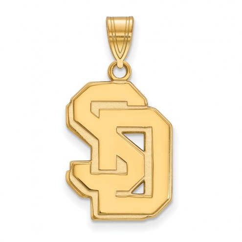 South Dakota Coyotes Sterling Silver Gold Plated Large Pendant