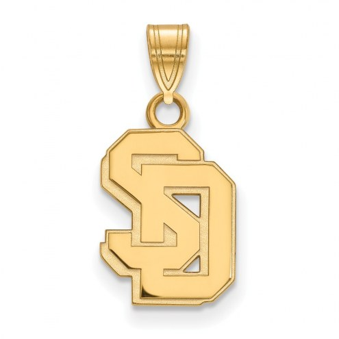 South Dakota Coyotes Sterling Silver Gold Plated Small Pendant