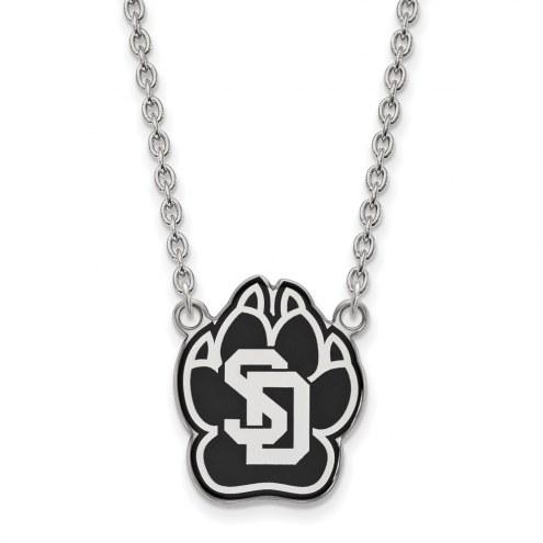 South Dakota Coyotes Sterling Silver Large Enameled Pendant Necklace