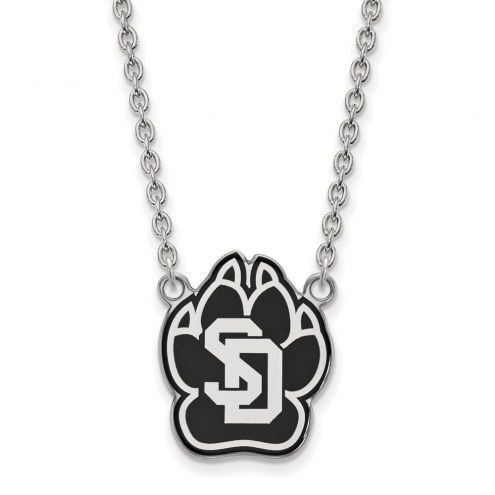 South Dakota Coyotes Sterling Silver Large Enameled Pendant Necklace