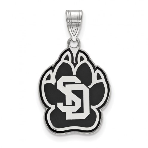 South Dakota Coyotes Sterling Silver Large Enameled Pendant