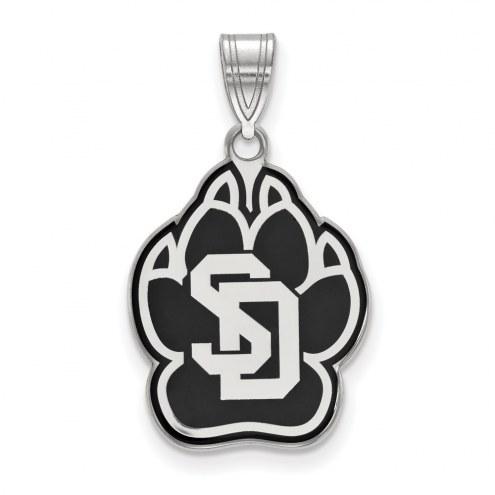 South Dakota Coyotes Sterling Silver Large Enameled Pendant