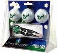 South Florida Bulls Black Crosshair Divot Tool & 3 Golf Ball Gift Pack