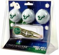 South Florida Bulls Gold Crosshair Divot Tool & 3 Golf Ball Gift Pack