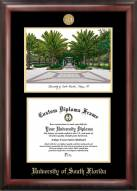 South Florida Bulls Gold Embossed Diploma Frame with Campus Images Lithograph