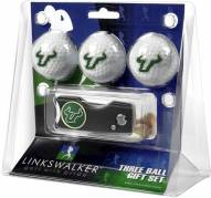 South Florida Bulls Golf Ball Gift Pack with Spring Action Divot Tool