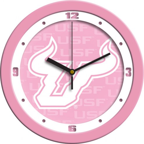 South Florida Bulls Pink Wall Clock