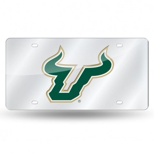 South Florida Bulls Silver Laser License Plate