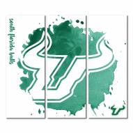 South Florida Bulls Triptych Watercolor Canvas Wall Art