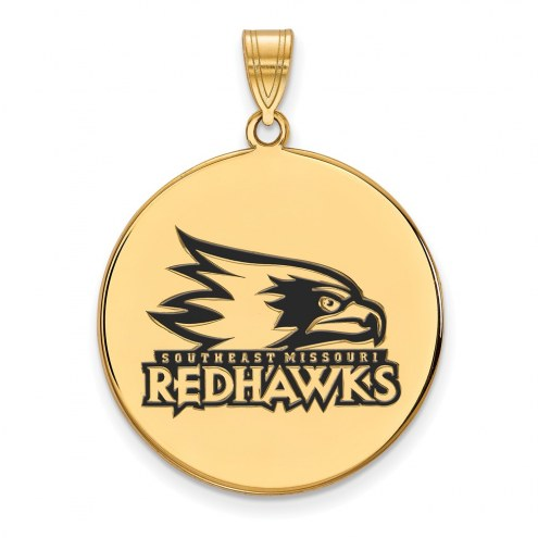 Southeast Missouri State Redhawks Sterling Silver Gold Plated Extra Large Enameled Disc Pendant