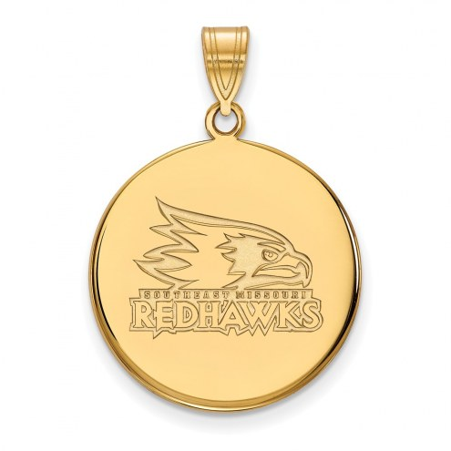 Southeast Missouri State Redhawks Sterling Silver Gold Plated Large Disc Pendant