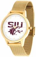Southern Illinois Salukis Gold Mesh Statement Watch