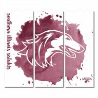 Southern Illinois Salukis Triptych Watercolor Canvas Wall Art