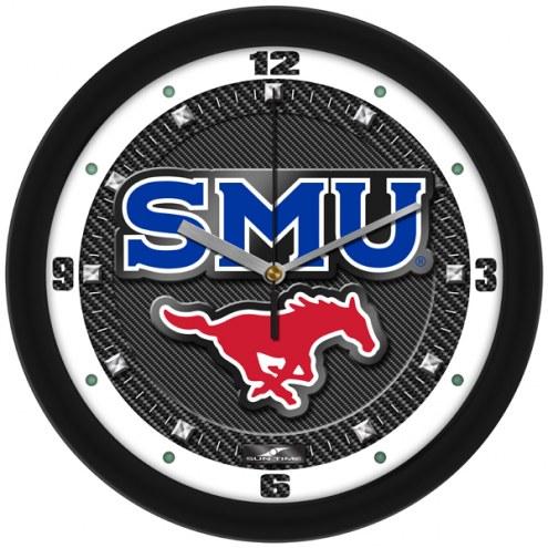 Southern Methodist Mustangs Carbon Fiber Wall Clock