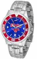Southern Methodist Mustangs Competitor Steel AnoChrome Color Bezel Men's Watch