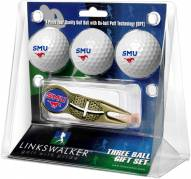 Southern Methodist Mustangs Gold Crosshair Divot Tool & 3 Golf Ball Gift Pack