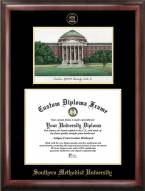 Southern Methodist Mustangs Gold Embossed Diploma Frame with Campus Images Lithograph