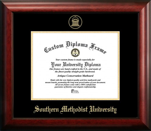 Southern Methodist Mustangs Gold Embossed Diploma Frame