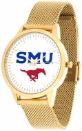 Southern Methodist Mustangs Gold Mesh Statement Watch