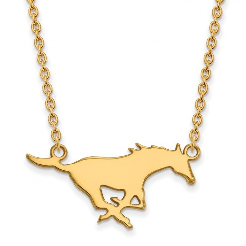 Southern Methodist Mustangs Sterling Silver Gold Plated Large Pendant Necklace