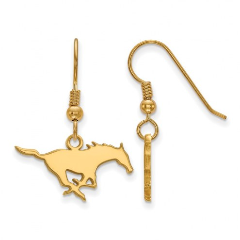Southern Methodist Mustangs Sterling Silver Gold Plated Small Dangle Earrings