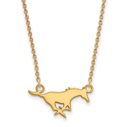 Southern Methodist Mustangs Sterling Silver Gold Plated Small Pendant Necklace