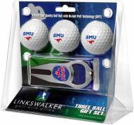 Southern Methodist Mustangs Golf Ball Gift Pack with Hat Trick Divot Tool