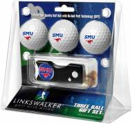 Southern Methodist Mustangs Golf Ball Gift Pack with Spring Action Divot Tool