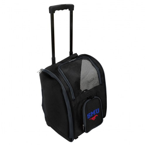 Southern Methodist Mustangs Premium Pet Carrier with Wheels
