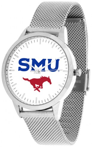 Southern Methodist Mustangs Silver Mesh Statement Watch