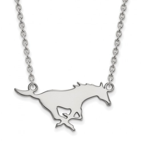 Southern Methodist Mustangs Sterling Silver Large Pendant Necklace