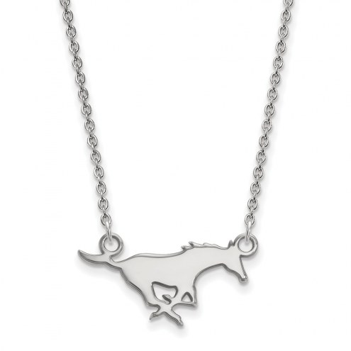 Southern Methodist Mustangs Sterling Silver Small Pendant Necklace