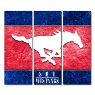 Southern Methodist Mustangs Triptych Double Border Canvas Wall Art