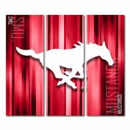 Southern Methodist Mustangs Triptych Rush Canvas Wall Art