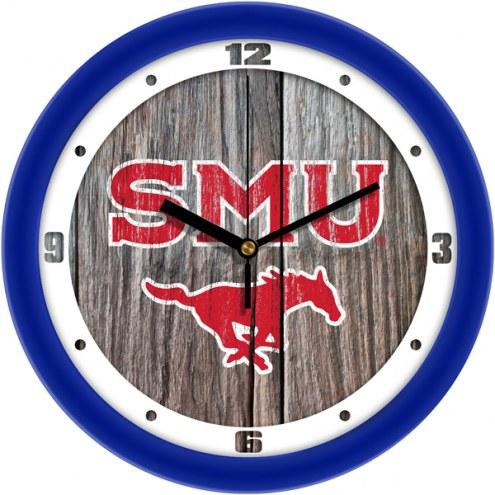 Southern Methodist Mustangs Weathered Wood Wall Clock