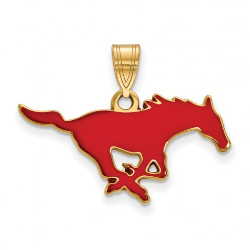 Southern Methodist Mustangs Sterling Silver Gold Plated Medium Enameled Pendant