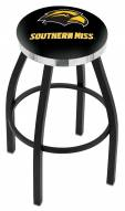 Southern Mississippi Golden Eagles Black Swivel Barstool with Chrome Accent Ring