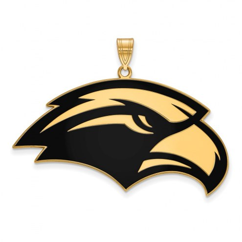 Southern Mississippi Golden Eagles Sterling Silver Gold Plated Extra Large Enameled Pendant
