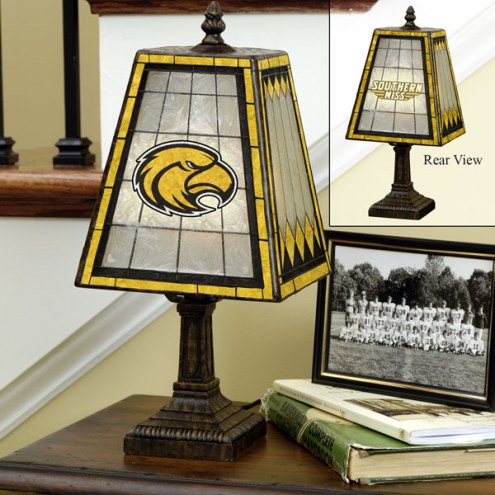 Southern Mississippi Golden Eagles Art Glass Table Lamp
