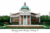 Southern Mississippi Golden Eagles Campus Images Lithograph
