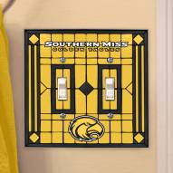 Southern Mississippi Golden Eagles Glass Double Switch Plate Cover